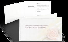 Danksagung mit Blumenmotiv Rose pastell