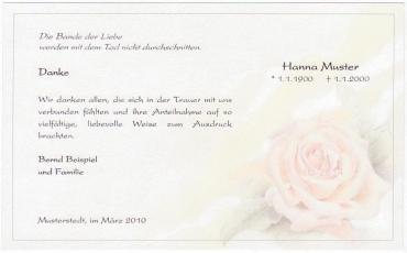 Trauer-Danksagungen mit Blumenmotiv