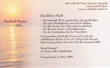 Trauerkarte zur Danksagung im Trauerfall und Beerdigung