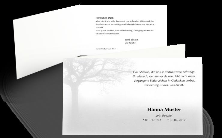 Danksagung Trauer-Klappkarte: Baum im Nebel