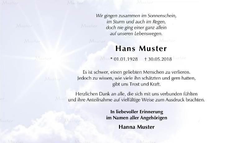 Trauerpost Himmel mit Sonne Dankeskarte