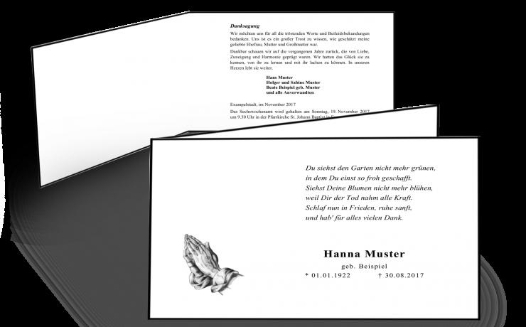 Klappkarte Trauerkarte mit traditionellem Trauerrand handgestrichen