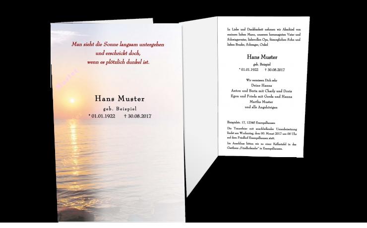 Trauerkarte Einladung zur Beerdigung Sonnenuntergang