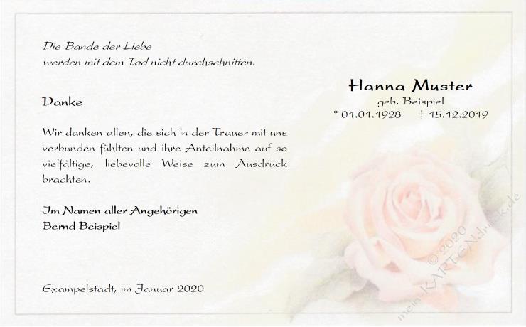 Musterbriefe Danksagung : Danksagung beerdigung rose pastell band der liebe