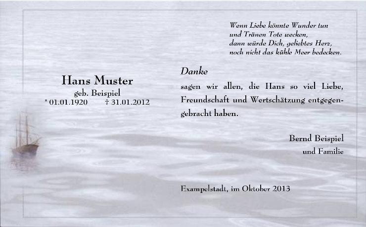 Trauerkarte mit Wellen im Hintergrund und Schiff im Trauerrand