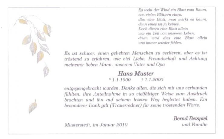 Trauerkarte mit feinem Trauerrand, Motiv fallendes Blatt zweifarbig dargestellt