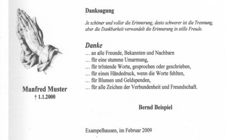 stilvolle Trauerkarte mit versetztem Schattenrand, gestaltet mit Dürers betenden Händen