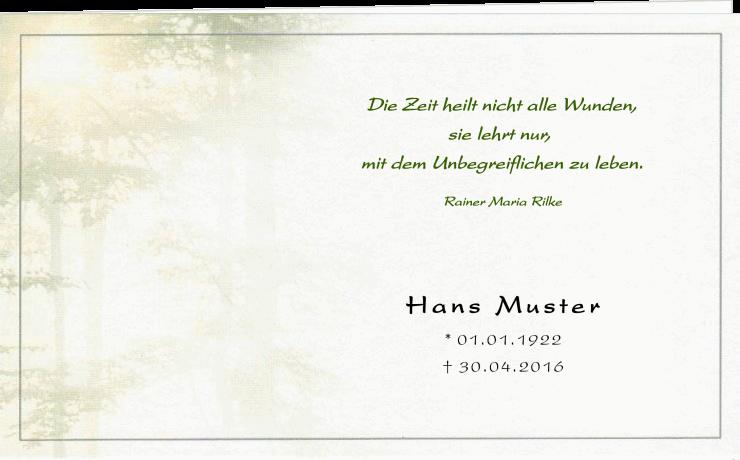 Trauerkarte_Klappkarte_Waldbestattung_Zeit_heilt