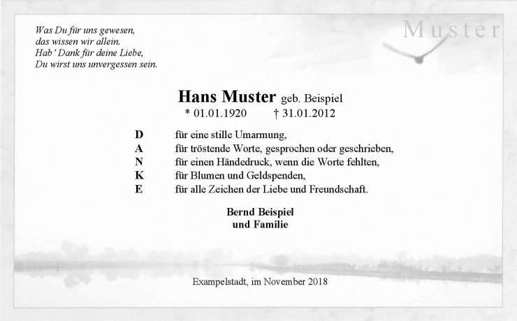 Trauerkarte zur Danksagung mit Vogel vor Sonne und Ufer von See / Meer
