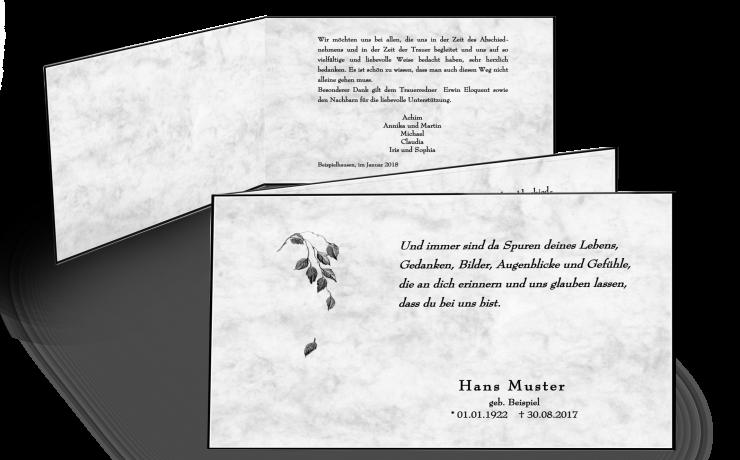 Trauerkarte Doppelkarte marmoriert Trauerrand klassisch
