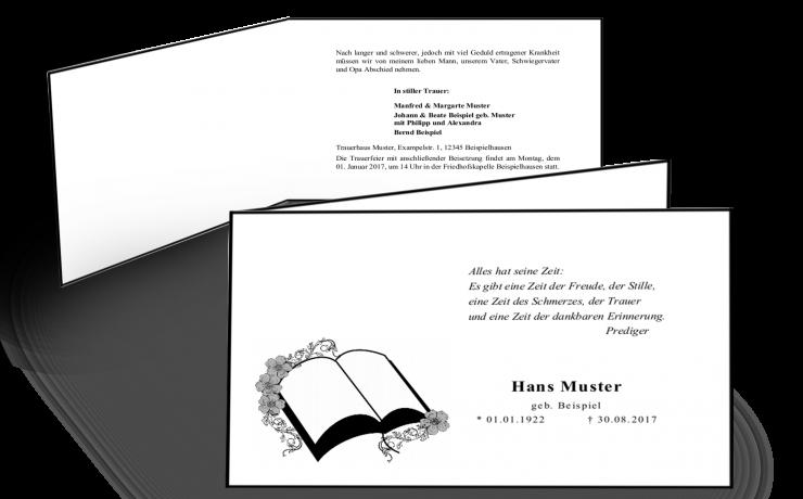 Trauerkarte zur Einladung Beerdigung - klassisch weiß hangeränderte Klappkarte