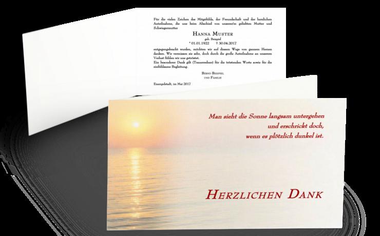 Trauerkarte mit Sonnenuntergang und Meer, bedruckt mit Trauerspruch und Dankestext
