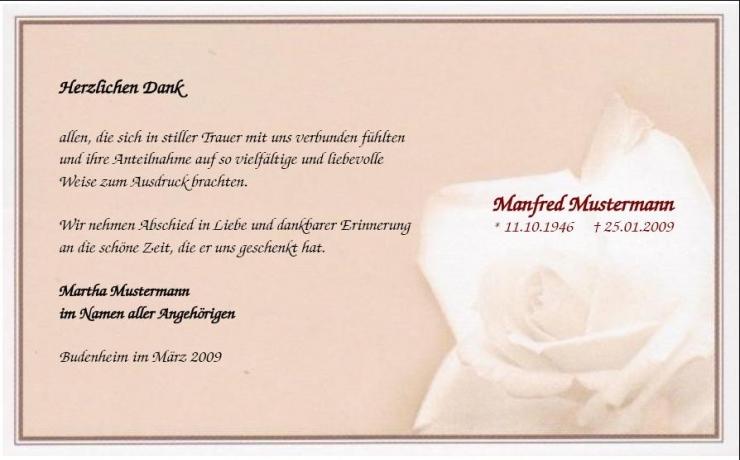 trauerdanksagungskarte rosenblüte muster anteilnahme, Einladung