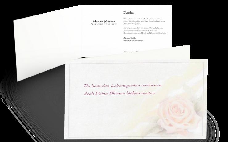 Trauerkarte Danksagung Rose pastell Klappkarte