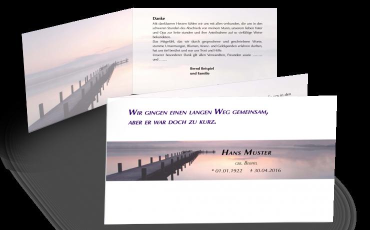 Trauerkarte zur Danksagung - Weg Steg See