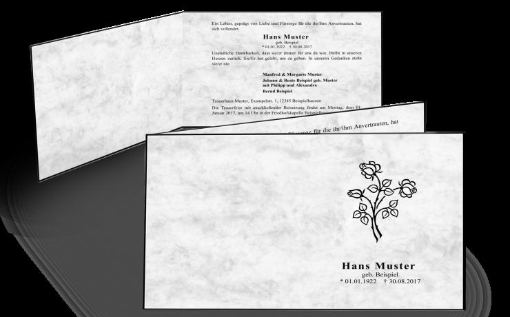 marmorierte Trauerkarte, klassischer Trauerrand, Trauerfeier einladen