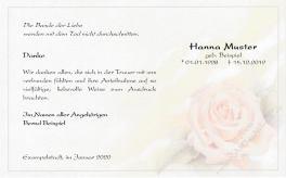 Danksagung Beerdigung - Rose pastell Band der Liebe