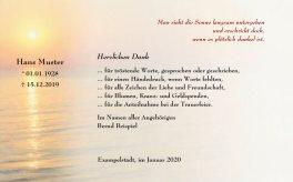 Dankeskarte Beerdigung - Sonnenuntergang - Trauer