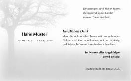 Trauerkarte Dank Baum Nebel