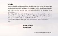 Danksagungstext Trauerkarte Steg - Innenseite rechts