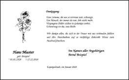 Danksagungskarte edel-weiß Rose klassischer Trauerrand