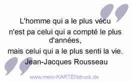 französischer Trauerspruch: L'homme qui a le plus vécu .. celui qui a le plus senti la vie.